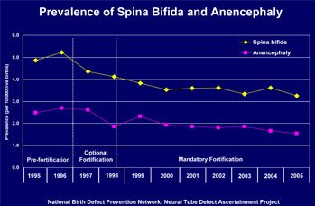 State data, trends, spina bifida, anencephaly